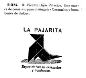 Despacho de Bombones, Caramelos, Chocolates y Thés, y registro del nombre La Pajarita . Vicente Hijós Palacio y Lorenza Aznárez